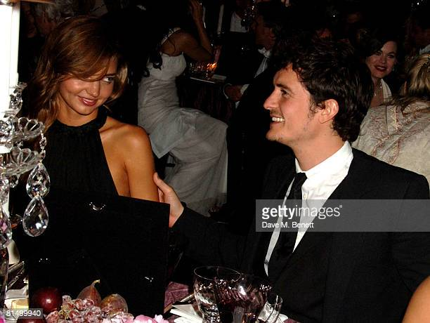 Miranda Kerr and Orlando Bloom attend the Raisa Gorbachev Foundation Party at the Stud House Hampton Court Palace on June 7 2008 in Richmond upon...