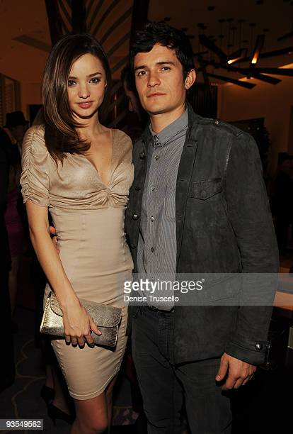 Miranda Kerr and Orlando Bloom attends the Vanity Fair party at the grand opening of Vdara Hotel Spa at CitiCenter on December 1 2009 in Las Vegas...