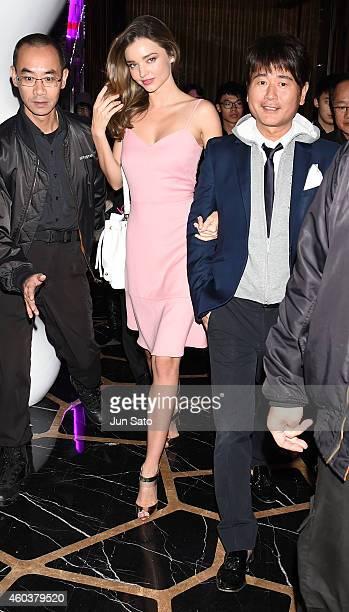 Miranda Kerr and Samantha Thavasa CEO Kazumasa Terada attend the Samantha Thavasa 20th Anniversary Party at The Ritz Carlton on December 12 2014 in...