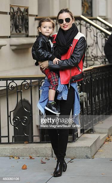 November 16: Miranda Kerr and son, Flynn Bloom are seen on November 16, 2013 in New York City.