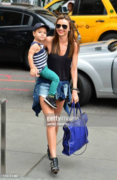 Miranda Kerr and son Flynn Bloom arrive to FAO Schwarz on July 28 2013 in New York City