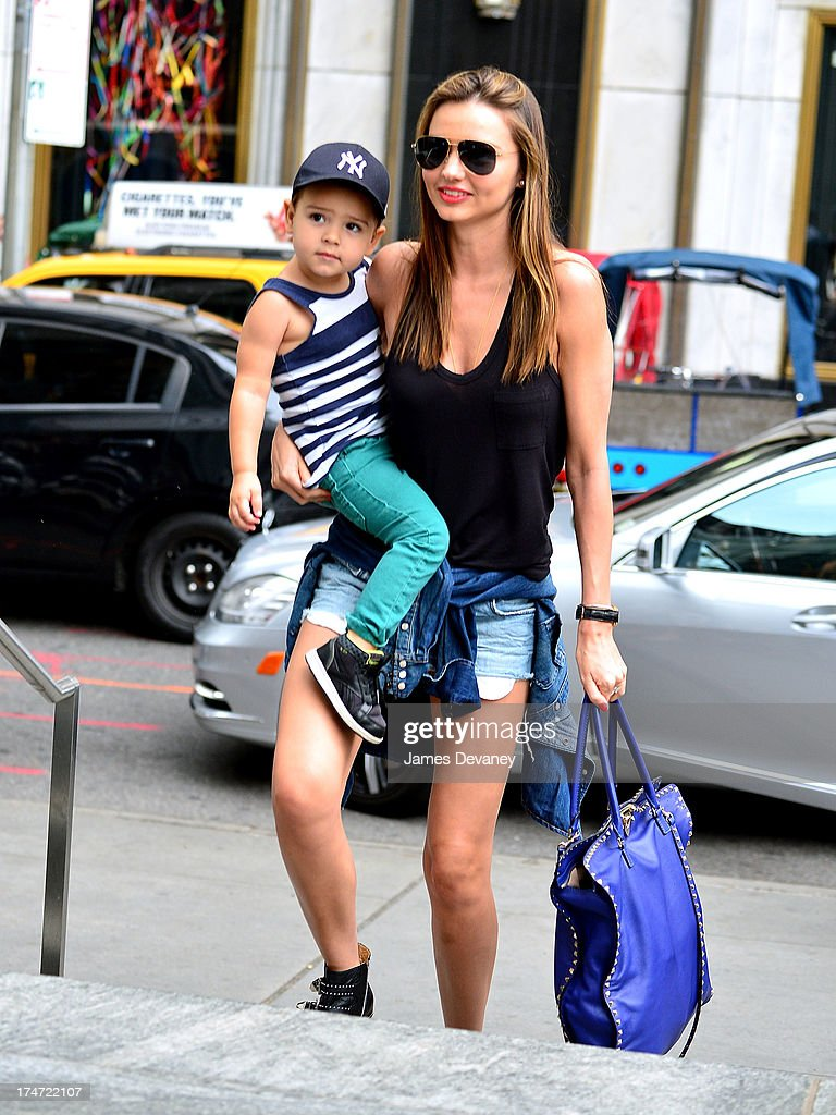 Miranda Kerr and son Flynn Bloom arrive to FAO Schwarz on July 28, 2013 in New York City.