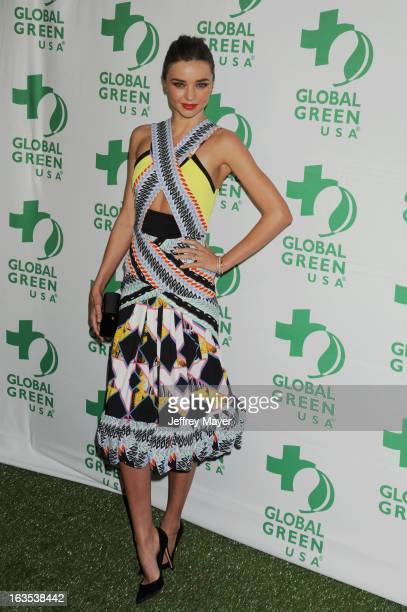 Miranda Kerr arrives at Global Green USA's 10th Annual PreOscar party at Avalon on February 20 2013 in Hollywood California