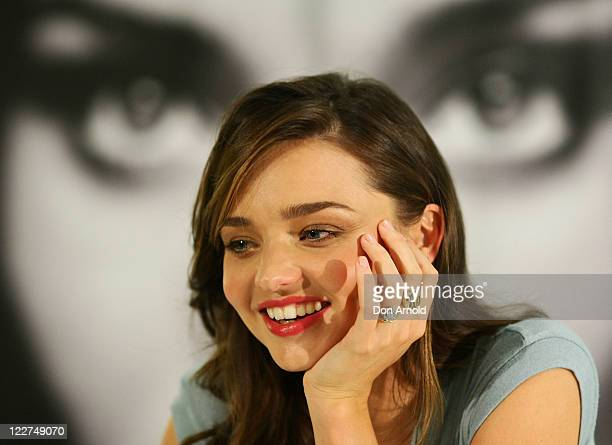 Miranda Kerr attends an instore promotional event promoting her Kora skin care range at the David Jones Castlereagh Street store on August 29 2011 in...
