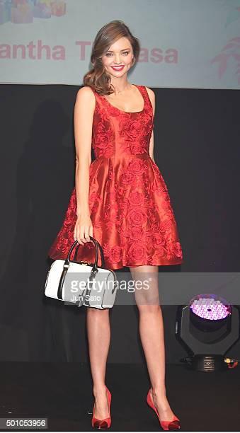 Miranda Kerr attends Samantha Thavasa Christmas event at Shibuya Hikarie Hall on December 12 2015 in Tokyo Japan