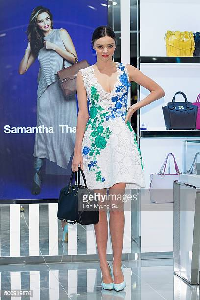 Miranda Kerr attends the photo call for 'Samantha Thavasa' at Lotte Department Store on December 11 2015 in Seoul South Korea