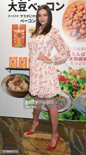 Miranda Kerr attends the promotional event for Marukome Kojiamazake sweet rice sake at Shinagawa Goos on January 10 2019 in Tokyo Japan