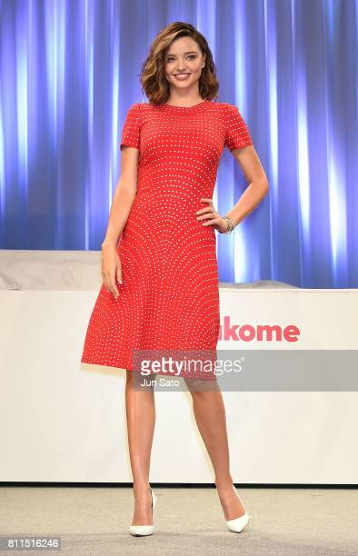Miranda Kerr attends the promotional event of Marukome organic miso product at the Hyatt Regency on July 10 2017 in Tokyo Japan