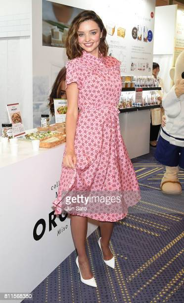 Miranda Kerr attends the promotional event of Marukome organic miso soup product at the Hyatt Regency on July 10 2017 in Tokyo Japan
