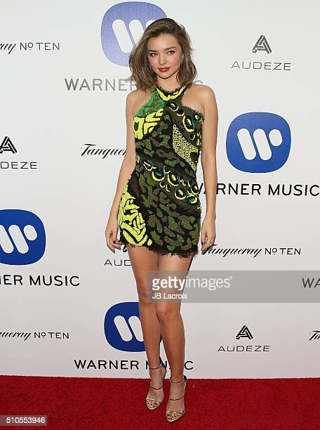 Miranda Kerr attends Warner Music Group's annual Grammy celebration at Milk Studios Los Angeles on February 15 2016 in Los Angeles California