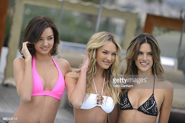 Miranda Kerr Candice Swanepoel and Alessandra Ambrosio celebrate the 15th Anniversary of the Victoria's Secret Swim Catalogue at the SLS hotel on...