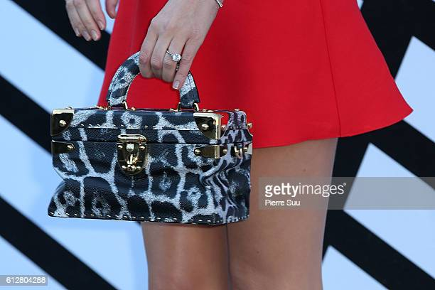 Miranda Kerr handbag detail arrives at the Louis Vuitton show as part of the Paris Fashion Week Womenswear Spring/Summer 2017 on October 5 2016 in...