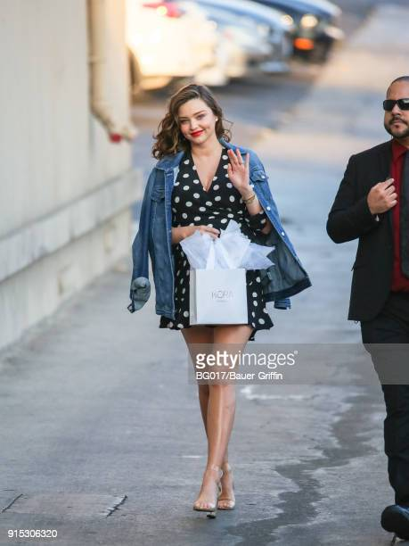 Miranda Kerr is seen arriving at 'Jimmy Kimmel Live' on February 06 2018 in Los Angeles California