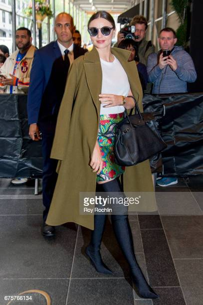 Miranda Kerr is seen arriving at the Carlyle Hotel to prepare for the 'Rei Kawakubo/Comme des Garcons Art Of The InBetween' Costume Institute Gala on...