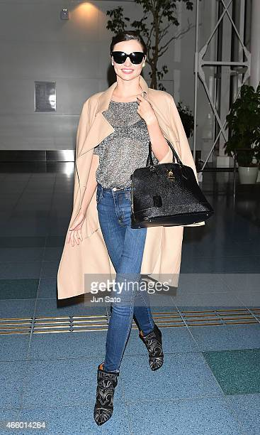 Miranda Kerr is seen at Haneda Airport on March 13 2015 in Tokyo Japan