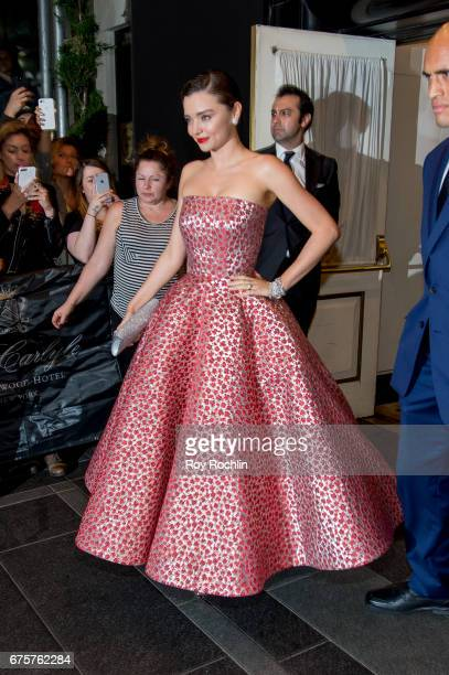 Miranda Kerr is seen departing the Carlyle Hotel to attend the 'Rei Kawakubo/Comme des Garcons Art Of The InBetween' Costume Institute Gala on May 1...