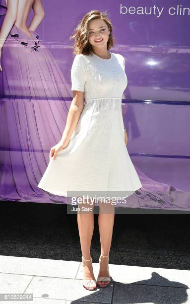 Miranda Kerr is seen during the Yuri Takano Aesthetic Clinic campain bus touring at Ginza shopping district on July 11 2017 in Tokyo Japan
