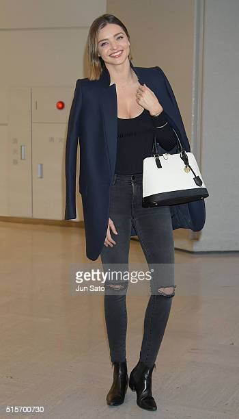 Miranda Kerr is seen upon arrival at Haneda Airport on March 15 2016 in Tokyo Japan