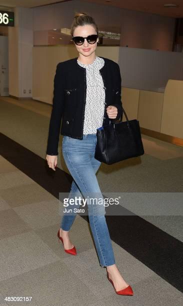 Miranda Kerr is seen upon arrival at Narita International Airport on April 6 2014 in Narita Japan