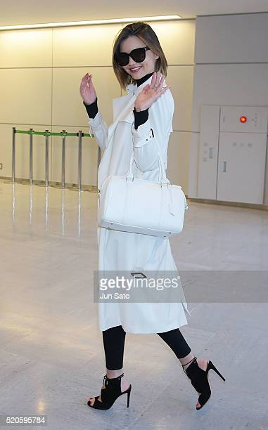 Miranda Kerr is seen upon arrival at Narita International Airport on April 12 2016 in Tokyo Japan