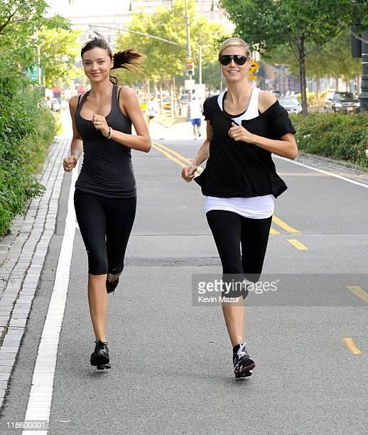 Miranda Kerr joins Heidi Klum on her AOL Summer Run on July 9 2011 in New York City