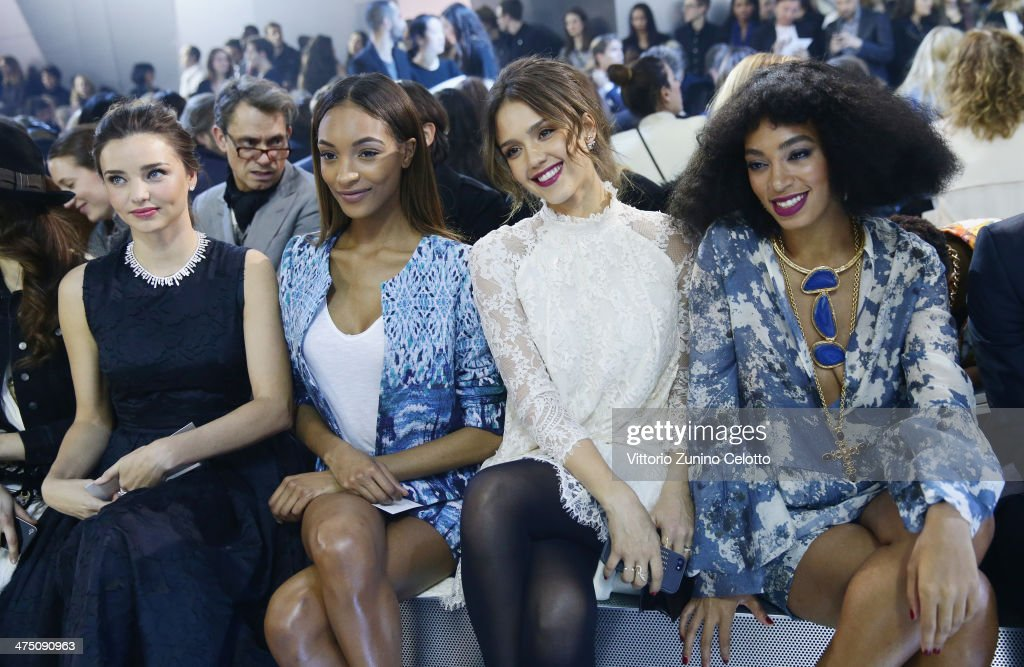Miranda Kerr, Jourdan Dunn, Jessica Alba, Solange Knowles attend the H&M show as part of the Paris Fashion Week Womenswear Fall/Winter 2014-2015 at Le Grand Palais on February 26, 2014 in Paris, France.