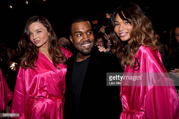 Miranda Kerr Kanye West and Chanel Iman backstage at the Victoria's Secret Fashion Show in New York City © LAN