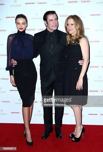 Miranda Kerr Kelly Preston and John Travolta attend the QANTAS Gala Dinner at Sydney Domestic Airport on April 18 2013 in Sydney Australia