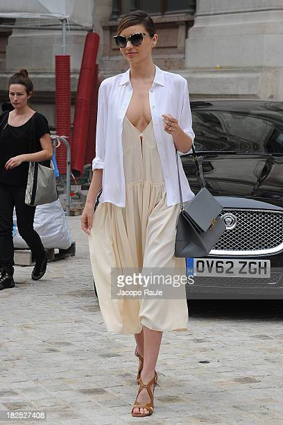 Miranda Kerr leaves Stella McCartney Fashion Show during Paris Fashion Week Womenswear SS14 Day 7 on September 30 2013 in Paris France
