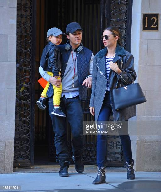 Miranda Kerr Orlando Bloom and Flynn Bloom are seen on October 28 2013 in New York City