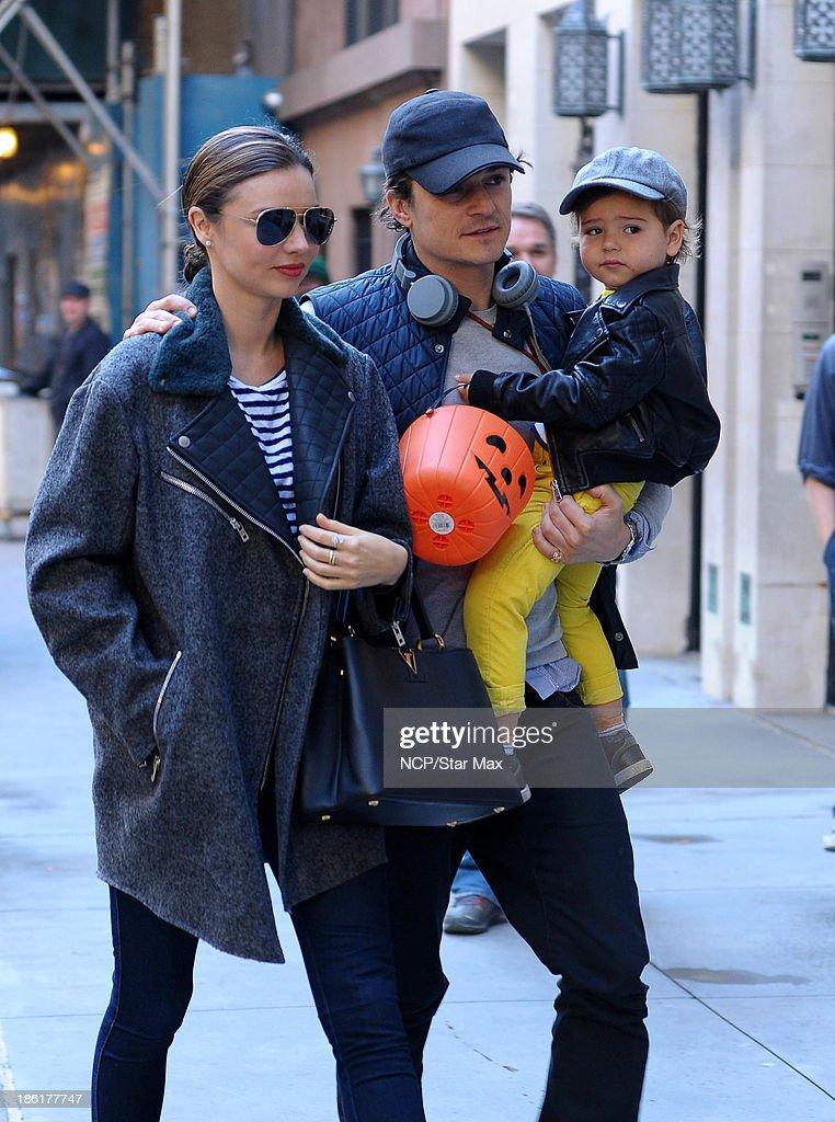 Miranda Kerr, Orlando Bloom and Flynn Bloom are seen on October 28, 2013 in New York City.