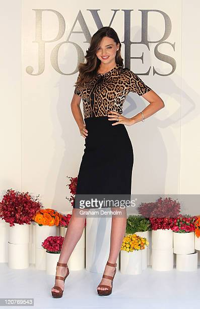 Miranda Kerr poses as she attends the David Jones Spring/Summer fashion preview on Bourke Street on August 10 2011 in Melbourne Australia