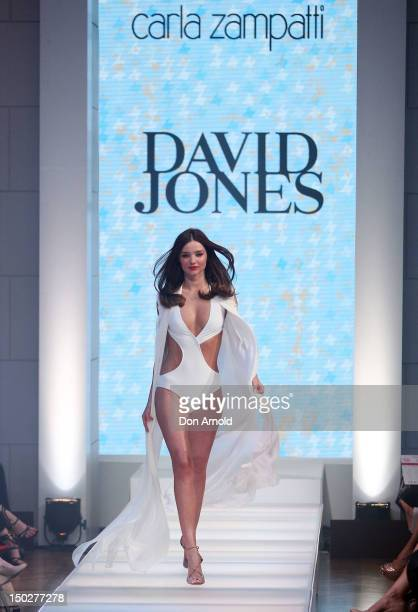Miranda Kerr showcases designs by Carla Zampatti during the David Jones S/S 2012/13 Season Launch at David Jones Castlereagh Street store on August...