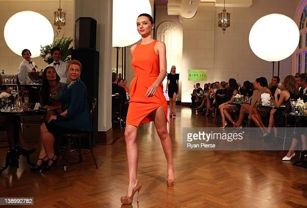 Miranda Kerr showcases designs by Dion Lee on the catwalk at the David Jones Autumn/Winter 2012 season launch at the David Jones Elizabeth Street...