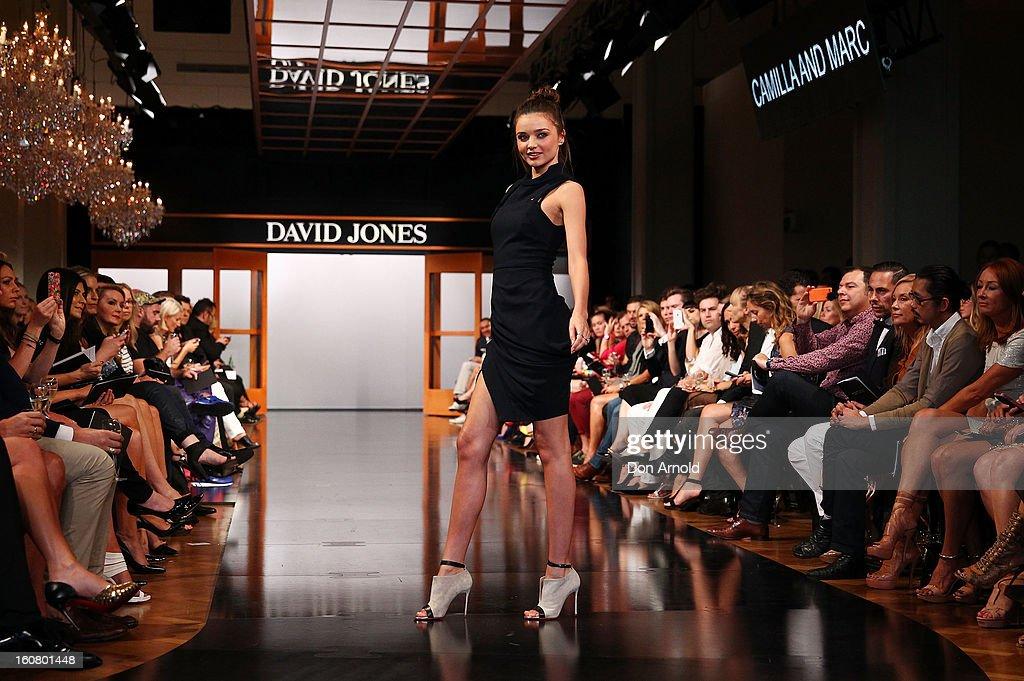 Miranda Kerr showcases designs by Dion Lee on the catwalk during the David Jones A/W 2013 Season Launch at David Jones Castlereagh Street on February 6, 2013 in Sydney, Australia.
