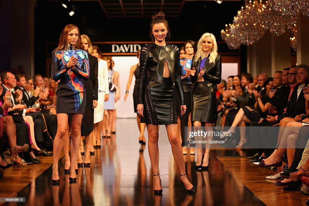 Miranda Kerr showcases designs by Dion Lee on the runway during the David Jones A/W 2013 Season Launch at David Jones Castlereagh Street on February 6, 2013 in Sydney, Australia.