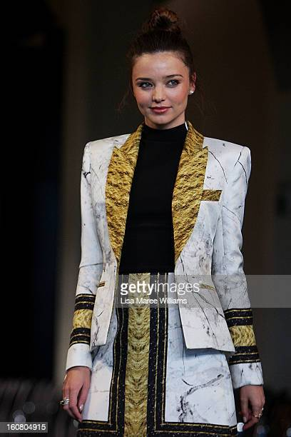 Miranda Kerr showcases designs by Josh Goot during rehearsal ahead of the David Jones A/W 2013 Season Launch at David Jones Castlereagh Street on...