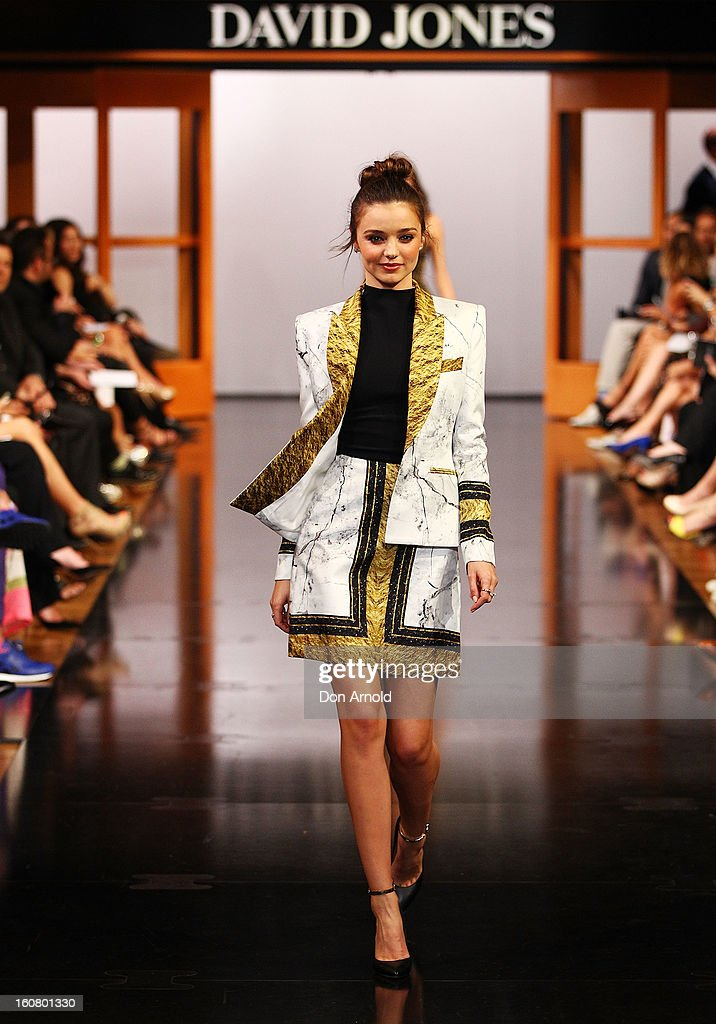 Miranda Kerr showcases designs by Josh Goot on the catwalk during the David Jones A/W 2013 Season Launch at David Jones Castlereagh Street on February 6, 2013 in Sydney, Australia.