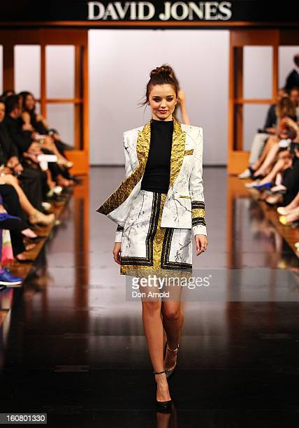 Miranda Kerr showcases designs by Josh Goot on the catwalk during the David Jones A/W 2013 Season Launch at David Jones Castlereagh Street on...