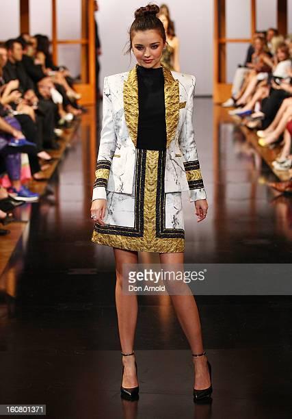 Miranda Kerr showcases designs by Josh Goot on the catwalk during the David Jones A/W 2013 Season Launch at David Jones Castlereagh Street on...