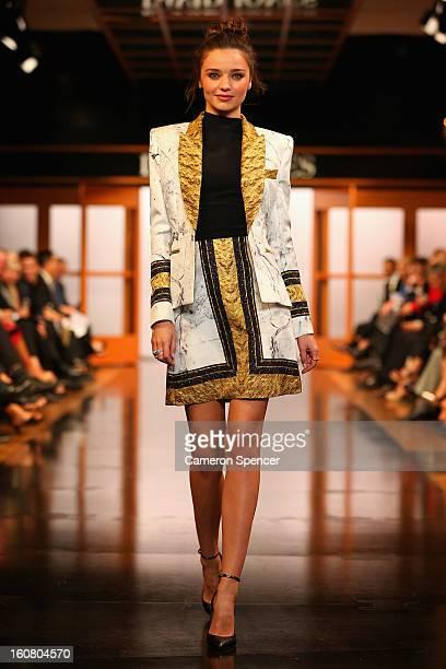 Miranda Kerr showcases designs by Josh Goot on the runway during the David Jones A/W 2013 Season Launch at David Jones Castlereagh Street on February...