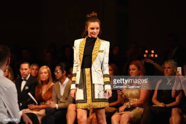 Miranda Kerr showcases designs by Josh Goot on the runway during the David Jones A/W 2013 Season Launch at David Jones Castlereagh Street on February...