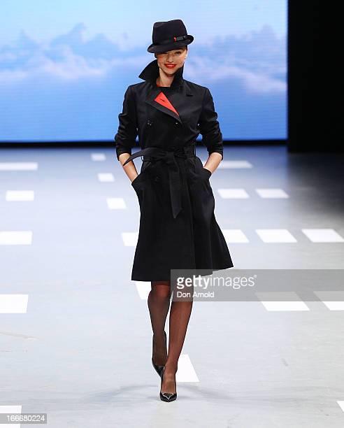 Miranda Kerr showcases the new Qantas uniform during the Qantas uniform unveiling at Hordern Pavilion on April 16 2013 in Sydney Australia
