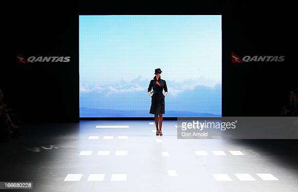 Miranda Kerr showcases the new Qantas uniform during the Qantas uniform unveiling at Hordern Pavilion on April 16 2013 in Sydney Australia