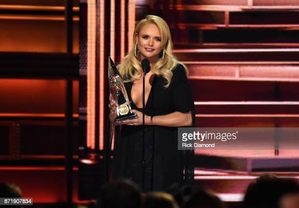 Miranda Lambert accepts an award onstage at the 51st annual CMA Awards at the Bridgestone Arena on November 8 2017 in Nashville Tennessee