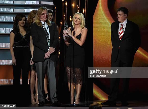 Miranda Lambert accepts the Album of the Year Award during the 48th annual CMA Awards at the Bridgestone Arena on November 5 2014 in Nashville...