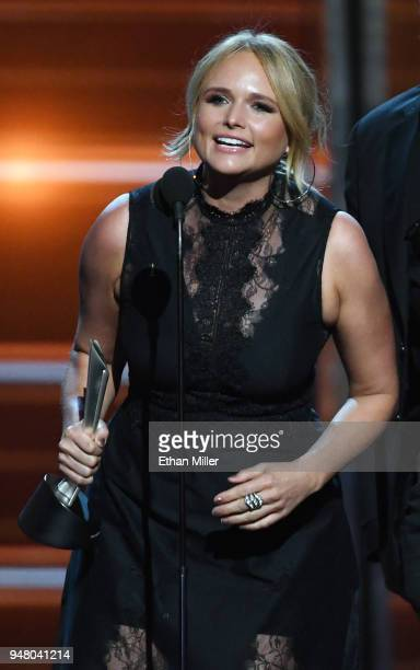 Miranda Lambert accepts the Song of the Year award for Tin Man during the 53rd Academy of Country Music Awards at MGM Grand Garden Arena on April 15...