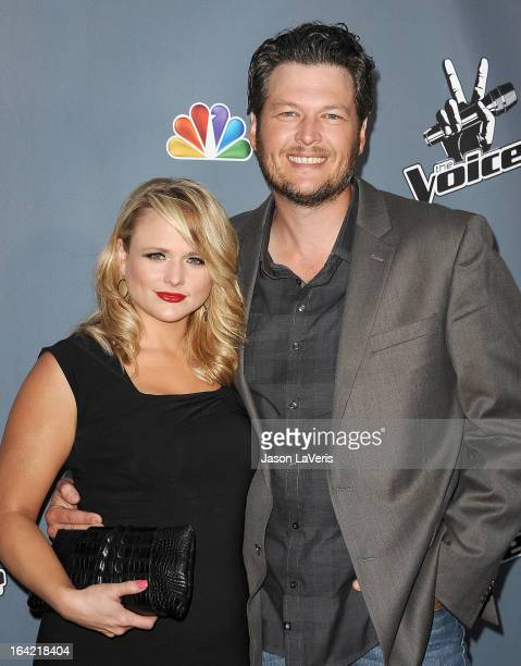 Miranda Lambert and Blake Shelton attend NBC's 'The Voice' season 4 premiere at TCL Chinese Theatre on March 20 2013 in Hollywood California