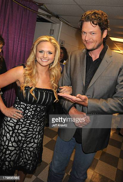 Miranda Lambert and Blake Shelton attend the 2008 CMT Music Awards at the Curb Events Center at Belmont University on April 14 2008 in Nashville...
