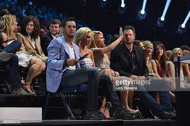 Miranda Lambert and Blake Shelton attend the 2014 CMT Music awards at the Bridgestone Arena on June 4 2014 in Nashville Tennessee